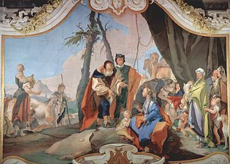 Rachel - Fresco by Giovanni Battista Tiepolo of Rachel sitting on the idols.