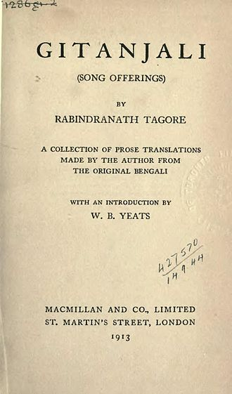 Works of Rabindranath Tagore - Title page of the 1913 Macmillan edition of Tagore's Gitanjali.