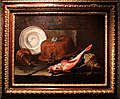 Giuseppe recco, pesci, rami, conchiglia, bugia, rinfrescatoio con bottiglie e piatto in maiolica.jpg