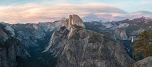 Glacier Point - The view from Glacier Point, left to right: Tenaya Canyon, Half Dome, Liberty Cap, Little Yosemite Valley, Vernal Fall and Nevada Fall.