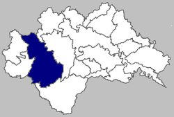 Map of Glina municipality within Sisak-Moslavina County