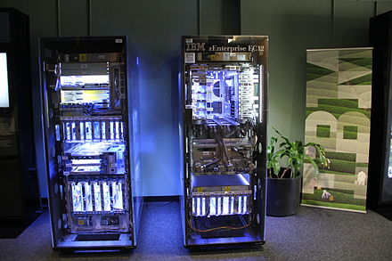 An IBM zEnterprise EC12 with the cover removed. The interior is lit to better see the various internal parts. Glowing IBM zEnterprise EC12.JPG
