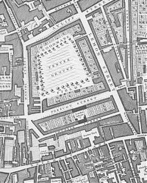 House numbering - One of the earliest street numbering systems was introduced along Prescott Street in Goodman's Field, London. John Rocque's Map of London, 1746.
