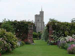 Goodnestone Park - View of Goodnestone Church from the rose garden of Goodnestone Park