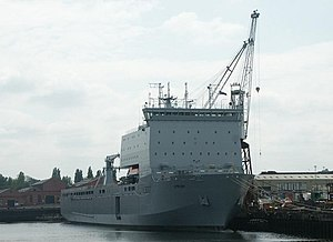 Bay-class landing ship - Lyme Bay being fitted out at BAE's Govan shipyard in early 2007. The hull of this vessel was built by Swan Hunter on the river Tyne, but was transferred to BAE for completion in 2006.