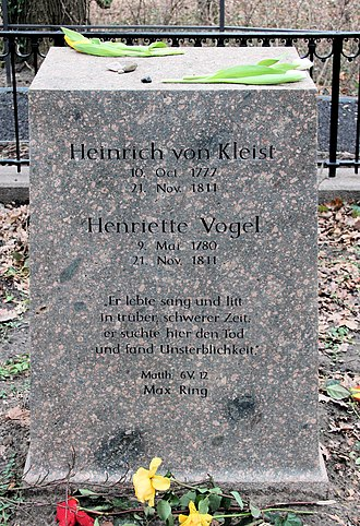 Grave of Kleist and Henriette Vogel at Kleiner Wannsee after renovation in 2011 Grabstatte Bismarckstr 2-4 (Wanns) Heinrich von Kleist 1.jpg