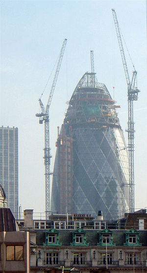 Skanska - Work in progress on 30 St Mary Axe, one of Skanska's most high-profile contracts. Built between 2001 and 2004, the tower was a major addition to London's skyline.