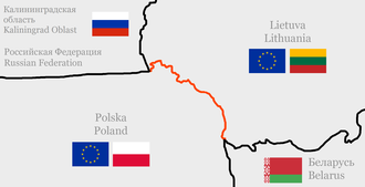 Lithuania–Poland border - The current border between the Republic of Lithuania  and the Republic of Poland. It has remained unchanged in the period following World War II.