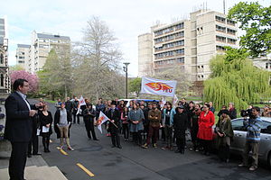Grant Robertson - Robertson speaking to a rally opposing the National Government's changes to University Councils, at the University of Otago, October 2013
