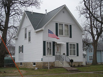 Grant Wood's boyhood home, Cedar Rapids, Iowa, listed as one of the most endangered historic sites in Iowa. Grant wood boyhood home.jpg