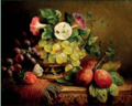 Grapes, Convolvuli and Plums. Oil on Canvas, signed Charles Stuart.png