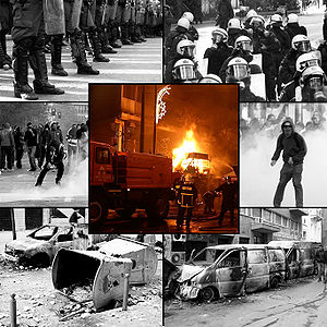 2008 Greek riots - Clockwise, from top left: riot police face protesters; police move in to contain rioting civilians; a protester defies police; burned-out vans; an abandoned barricade; and protesters retreat from tear gas