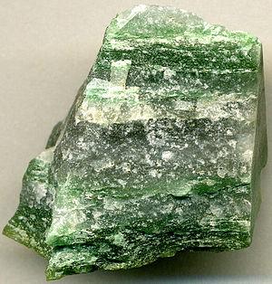 Eoarchean - Eoarchaean (3.8 b.y.) Greenlandite  specimen (fuchsite-quartz gneiss), Nuup Kangerlua, Greenland.