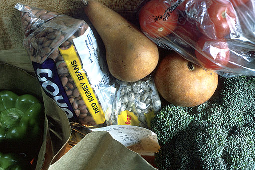 Grocery bag of healthy foods