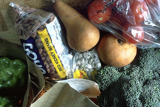 Grocery bag of healthy foods