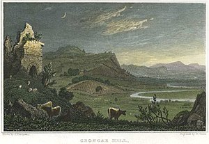 Grongar Hill - Grongar Hill, Carmarthenshire, a print by William Wallis after Henry Gastineau. Steel engraved with hand colouring.
