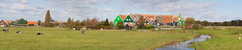 A panorama of Marken showing the community of Grote Werf with the village of Marken in the background