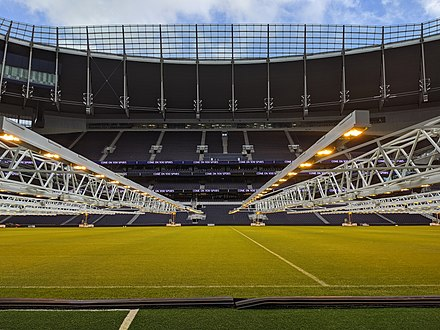 HPS grow lights suspended over the grass pitch at Tottenham Hotspur Stadium to encourage grass growth Grow lights over the pitch at Tottenham Hotspur Stadium.jpg