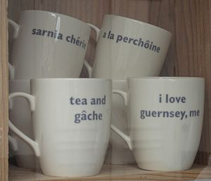 """Channel Island English - """"I love Guernsey, me"""" - this slogan on a cup demonstrates the typical use of the emphatic pronoun"""