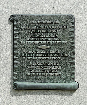 Guillaume Couture - Plaque of Guillaume Couture in Lévis.