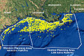 Gulf Coast Drilling Platform Map n 	Gulf Coast Platforms.jpg  Map of the northern Gulf of Mexico showing the nearly 4,000 active oil and gas platforms.