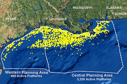 NOAA map of the 3,856 oil and gas platforms extant off the Gulf Coast in 2006. Gulf Coast Platforms.jpg