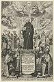 H. Benedictus met bisschopsstaf en boek Titelpagina voor Benedictus van Haeften, S. Benedictvs illvstratvs sive Disqvisitionvm monasticarvm libri XII, RP-P-OB-7063.jpg