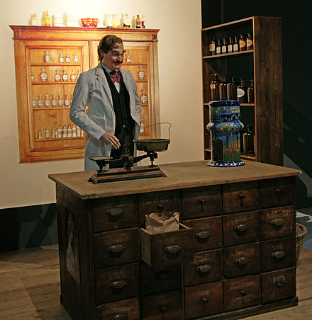 The pharmacy of Caleb Bradham, with a Pepsi dispenser HMB Bern New Bern Caleb Bradham.jpg
