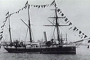 Redbreast-class gunboat - HMS Ringdove dressed overall at Melbourne in 1896