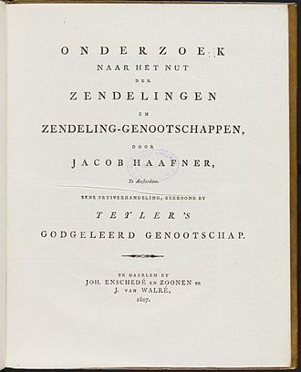 Teylers Eerste Genootschap - Title page of Haafner's award-winning submission on Christian mission, in Verhandelingen van Teylers Godgeleerd Genootschap (Proceedings of Teylers Theological society) XXII, Haarlem, 1807.