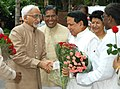 Hamid Ansari is being received by the Union Minister for Information & Broadcasting and Parliamentary Affairs, Shri Priyaranjan Dasmunsi on his arrival at Parliament House, in New Delhi on August 13, 2007.jpg