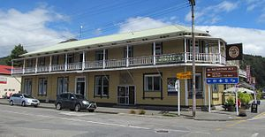 Murchison, New Zealand - Hampden Hotel, the iconic 19th century hotel on the main street of Murchison