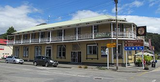 Murchison, New Zealand - The 19th century Hampden Hotel on the main street of Murchison. The hotel's name recalls the town's original (1865–1882) name.