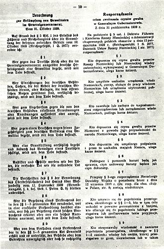 "General Government - Part of Hans Frank's ordinance from 31 October 1939 on ""counteracting the acts of violence in General Government"""