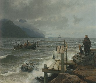 Hans Gude - Fresh breeze off the Norwegian coast