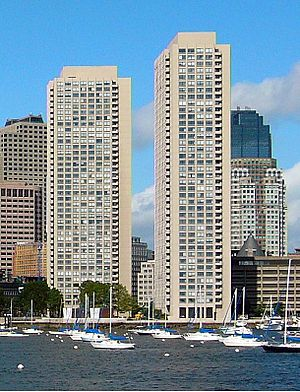 Harbor Towers - A view of the Harbor Towers from Boston Harbor