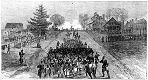 Battle of Mine Run - Artillery bombardment with Warren's troops awaiting attack   (from Harper's Weekly)