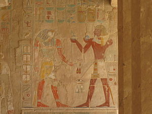 Mortuary Temple of Hatshepsut - A partially surviving relief in the temple