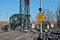 Hawthorne Br. west end 2012 with drawbridge sign and other traffic signs.jpg