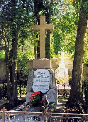 "Baroness Mary Vetsera - Cemetery in Heiligenkreuz, Lower Austria – grave marked ""Mary Freiin v. Vetsera"""