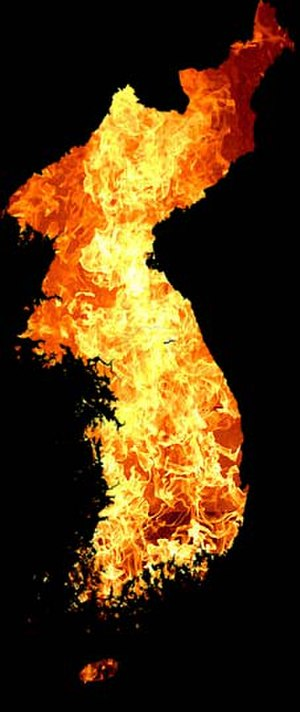 "Hell Joseon - ""Hell Joseon"" is illustrated by a map of whole Korean Peninsula painted in the colour of hell's fire."