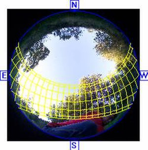 Hemispherical photography - Hemispherical photograph from an open canopy reach of San Francisquito Creek. Overlay of the sunpath enables calculation of solar exposure as it influences water temperature.