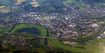 Aerial view of Hennef, Germany, in the foregro...
