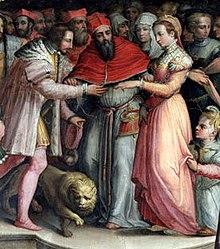 Il matrimonio di Caterina ed Enrico. Affresco del Vasari realizzato diciassette anni dopo la cerimonia