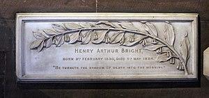 Henry Arthur Bright - Memorial to Bright in Ullet Road Unitarian Church
