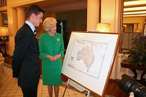 Freycinet Map of 1811 - Henry de Freycinet presenting copy of 1811 Freycinet Map to Governor-General Ms Quentin Bryce
