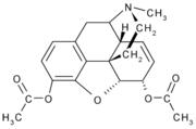 Estructura química de la heroína (diacetilmorfina)