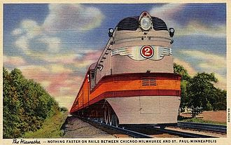 Chicago, Milwaukee, St. Paul and Pacific Railroad - Hiawatha postcard from 1935