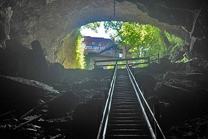 Horse Cave, Kentucky - View from inside Hidden River Cave at the American Cave Museum