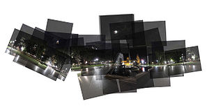 Panograph of Hyde Park in Sydney by Night